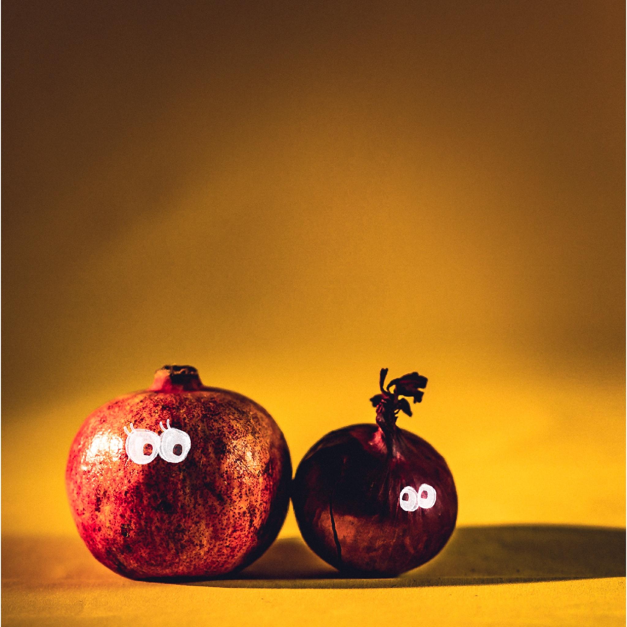 Ein Granatapfel & eine Zwiebel mit Augen als Symbol für LGBTIQ+-Hochzeit